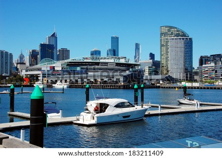 Melbourne, Australia - March 3: Docklands is new and modern district, Melbourne, Australia - March 3, 2013 - stock photo