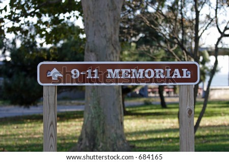 9-11 Memorial Sign - stock photo