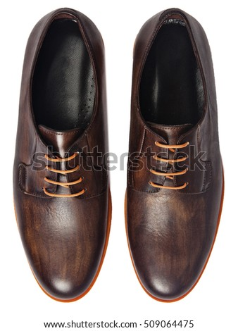 Men's Classic Black Leather Shoes Isolated on White Background