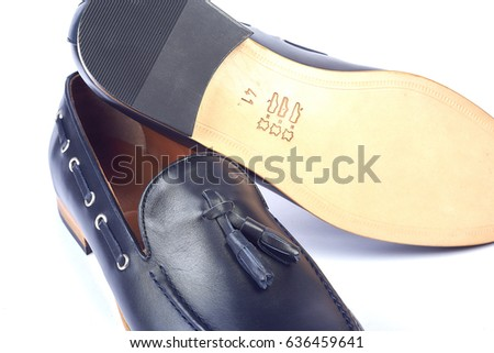men's leather blue shoes on a white background