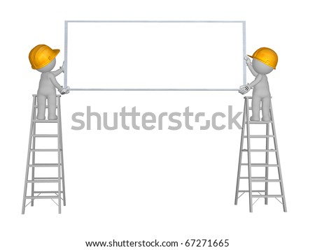 2 men up ladder with blank sign - stock photo