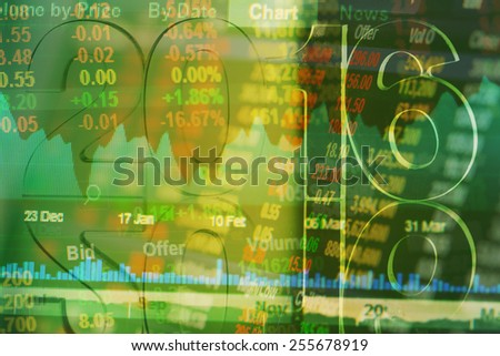 2016 merge on stock market board - stock photo
