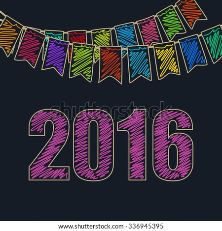 2016 Merry Christmas and Happy New Year, Christmas Festive Background, Holiday Colorful Colored Bunting Flags and the Pink Date of 2016, Drawing Crayons or Markers - stock photo