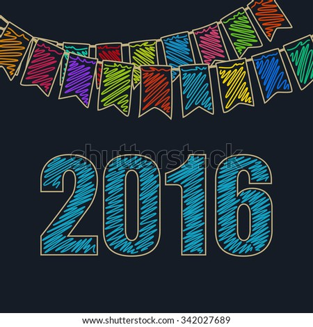 2016 Merry Christmas and Happy New Year, Christmas Festive Background, Holiday Colorful Colored Bunting Flags and the Azure Date of 2016, Drawing Crayons or Markers - stock photo