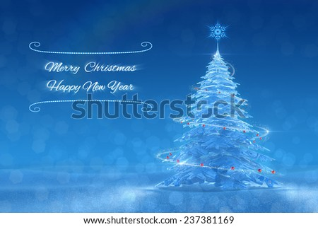'Merry Christmas and Happy New Year' Festive Design. Graphic composition, based on 3D-rendered scene - stock photo