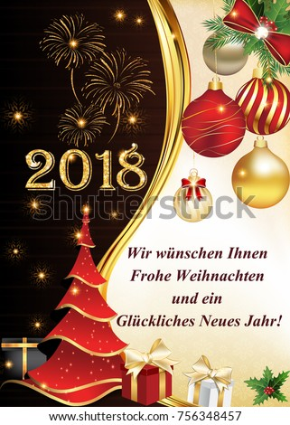 2018 Merry Christmas And Happy New Year Greeting Card With German Message Text Translation