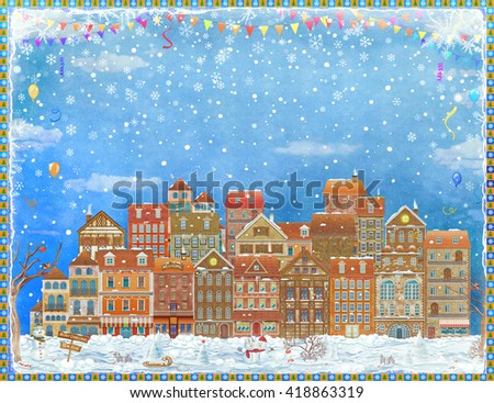Merry  Christmas and New Year holidays card with  fairy town in winter , illustration art