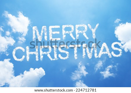 """Merry christmas"" cloud word on sky. - stock photo"