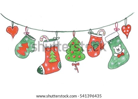 Merry Christmas decorations hanging on a rope. Isolated on a white background