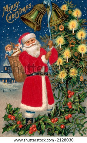 'Merry Christmas' - Santa Claus rings Christmas bells in the village - a circa 1908 vintage greeting card illustration. - stock photo