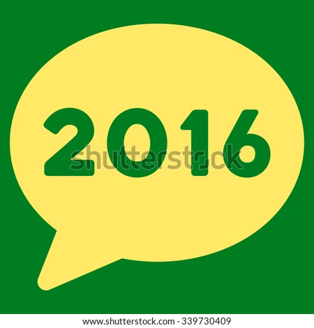 2016 Message glyph icon. Style is flat symbol, yellow color, rounded angles, green background. - stock photo