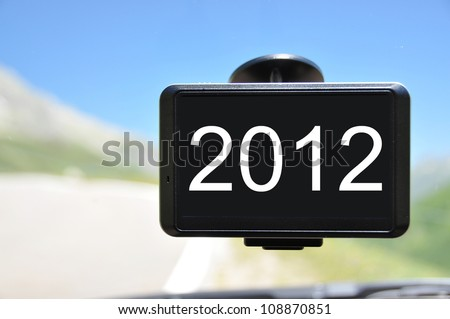 2012 message on the screen of a satellite navigation system - stock photo