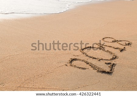 2018 message written in the sand at the beach background