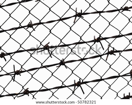Metal barbed wire fence protection isolated on white for background - stock photo