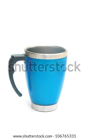 metal blue cup - stock photo