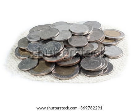 metal coins isolated on white background, business concept
