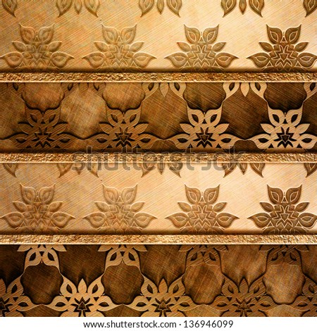 metal plate with classical ornament - stock photo