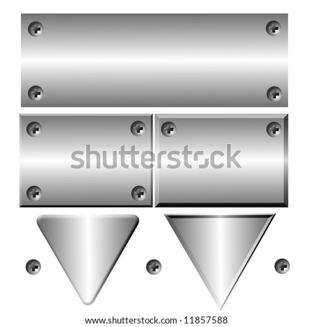 Metal Plate With Screws - stock photo