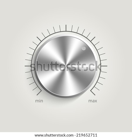 Metal  volume music control with a scale from low to high, volume knob, for websites  - stock photo