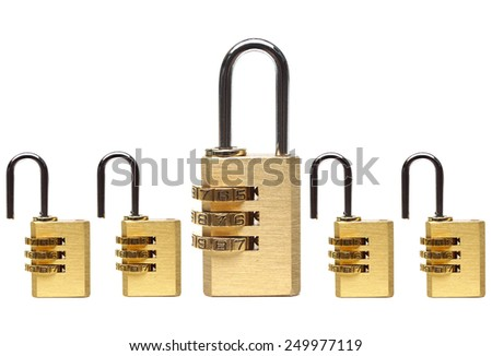 Metaphor of countermeasure in computer system / security locks with passwords on isolated background                                - stock photo