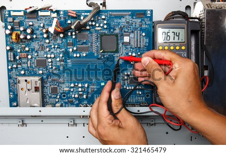 Meter circuit boards. - stock photo