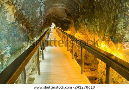 70 meter long horizontal tunnel that leeds to the spring of water for the inhabitants of tel-megiddo - stock photo