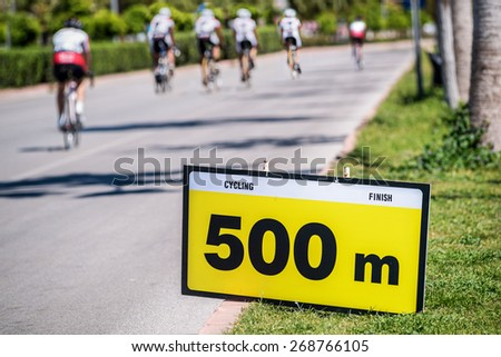 500 meters to Cycling race finish - stock photo
