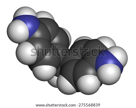 4,4'-methylenedianiline (methylenedianiline, MDA) molecule. Suspected carcinogen, on the list of substances of very high concern. Used in polyurethane production. Atoms are represented as spheres.  - stock photo