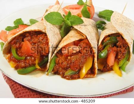 mexican beef fajitas - stock photo