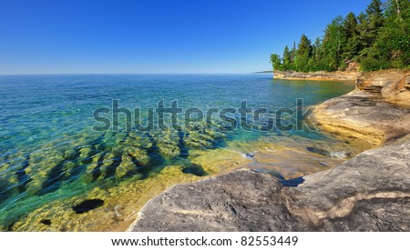 """Michigan's Caribbean '  Pristine clear waters of Lake Superior Pictured Rocks National Lake-shore - stock photo"