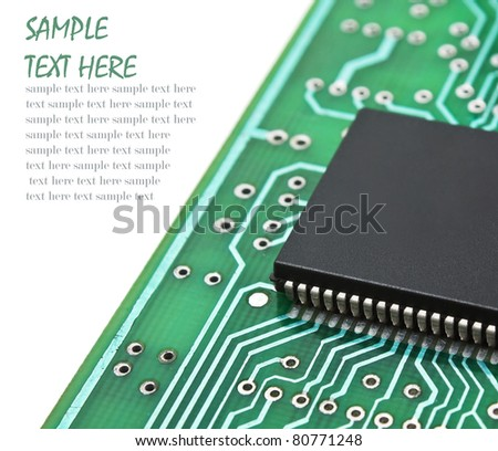 microchips on a printed circuit board  isolated on white background - stock photo
