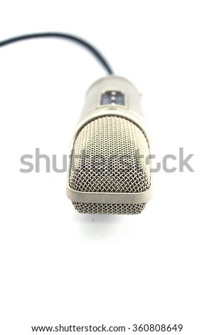 microphone studio silver metallic Sound recording equipment  on white background - stock photo
