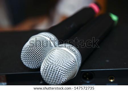 2 microphones - stock photo