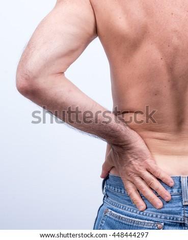 Middleaged Man Pain Lumbar Region Pushes Stock Photo (Royalty Free ...