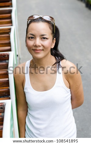 Middle - aged  Thai attractive woman. - stock photo