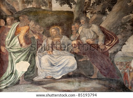 Milan - Jesus and apostle - fresco from  Saint Simpliciano church