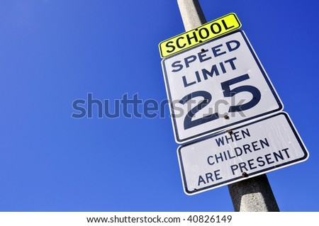 25 mile an hour school zone speed limit sign, room for your text - stock photo