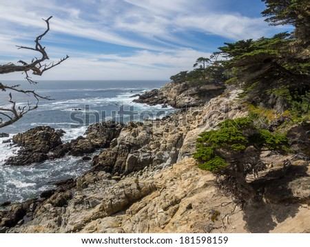 17-Mile Drive is a scenic road through Pebble Beach and Pacific Grove on the Monterey Peninsula in California - stock photo
