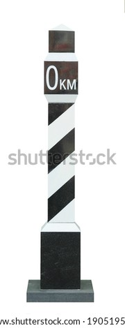 milepost marked with zero on white background - stock photo
