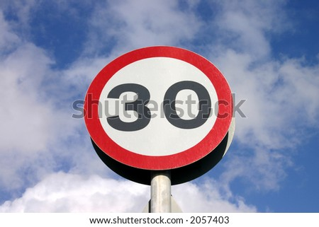 30 miles an hour speed limit sign - stock photo