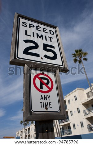 25 miles per hour sign. - stock photo