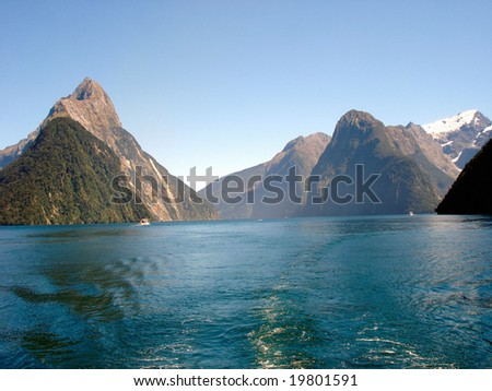 Milford Sound - Mitre Peak - stock photo