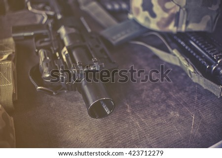 military equipment , close up on rifle - stock photo