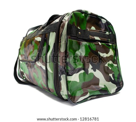 """""""Military style"""" bag. Isolated on white. - stock photo"""