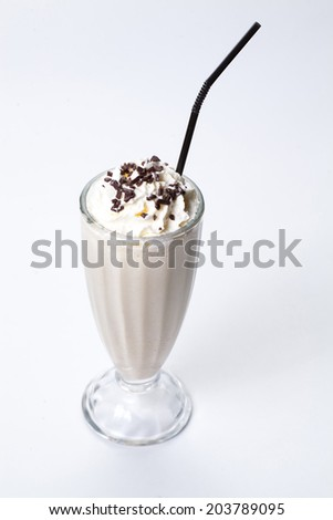 Milk cocktail with cream and chocolate - stock photo