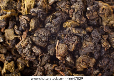 """Milk Oolong""  oolong chinese tea macro shot - stock photo"