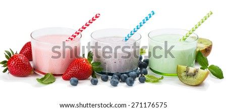 Milkshakes strawberry, blueberry and kiwi with fresh berries isolated on white background.    - stock photo