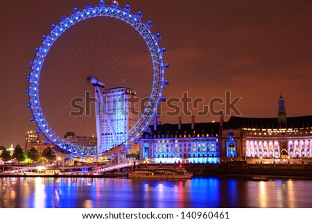 Millennium Wheel, in London UK at dusk - stock photo