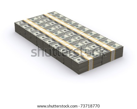 1 Million Dollars stacked with a white background - stock photo