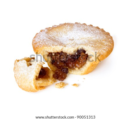 Mince Pie Broken Open isolated on white background with shadow - stock photo
